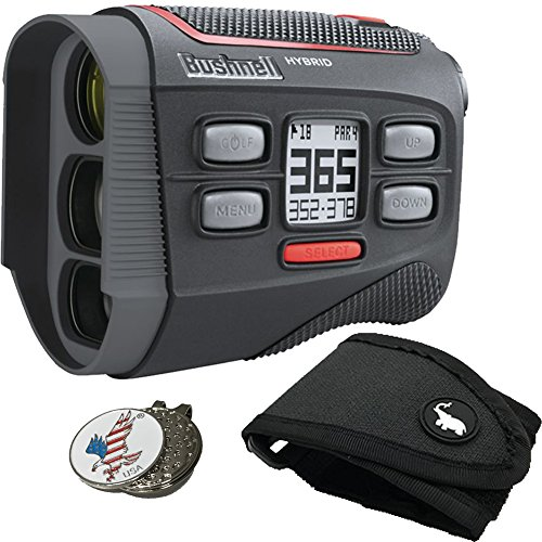 - Bushnell Bundle Hybrid Golf GPS Laser Rangefinder + 1 Custom Ball Marker Clip Set (American Eagle) + 1 Magentic Golf Rangefinder Cart Mount (Black)