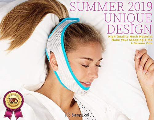 New 2019 Sleep Labs Best Anti Snoring Chin Strap, Soft, Breathable Material, Voted Best Snore Strap in North America, Anti Snoring Devices, Anti-Snore Strip, Sleep Aid for Men, Women and Cpap Users