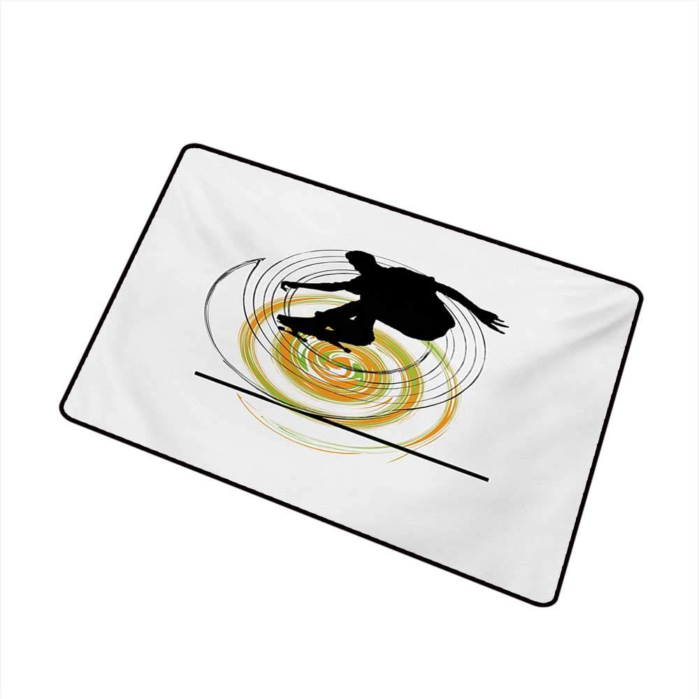 Bedroom Doormat Youth Black Silhouette of a Skater Man on Hand Drawn Style Spiral Hobby Activity W35 xL47 Durable
