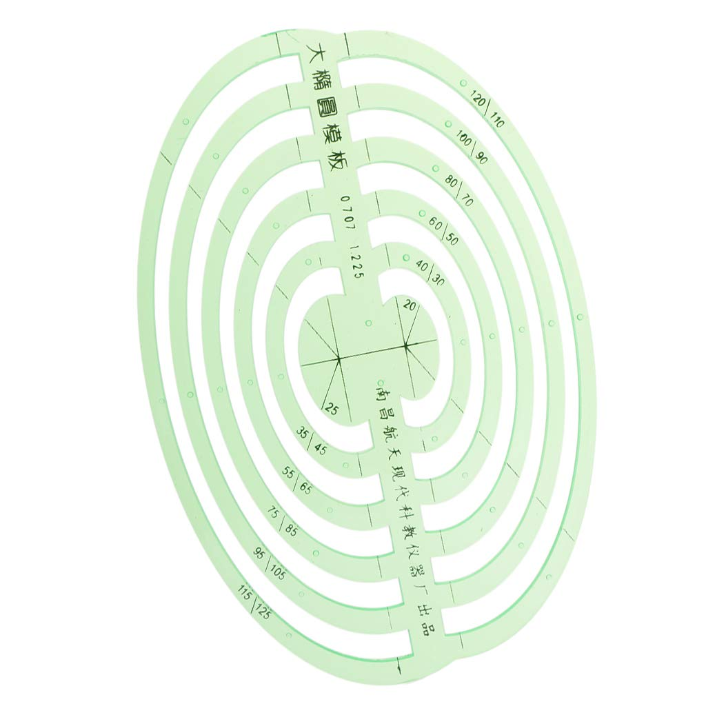 SM SunniMix 1 Pc Plastic Green Measuring Templates Geometric Rulers for Office and School, Building formwork, Drawings templates - Large Oval by SM SunniMix (Image #1)
