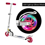Scooter for kids with LED Light Up Wheels, Adjustable Height Kick Scooters for Boys and Girls, Rear Fender Break, 5lb Lightweight Folding Light Up Kids Scooter, 110lb Weight Capacity (pink/B2)
