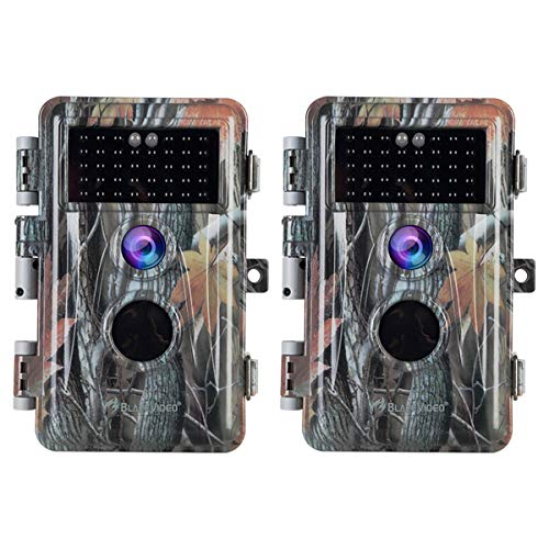 [2019 Upgraded] 2-Pack Night Vision Game Trail Cameras 16MP 1080P No Glow  Hunters Deer Hunting Cams IP66 Waterproof & Password Protected Motion