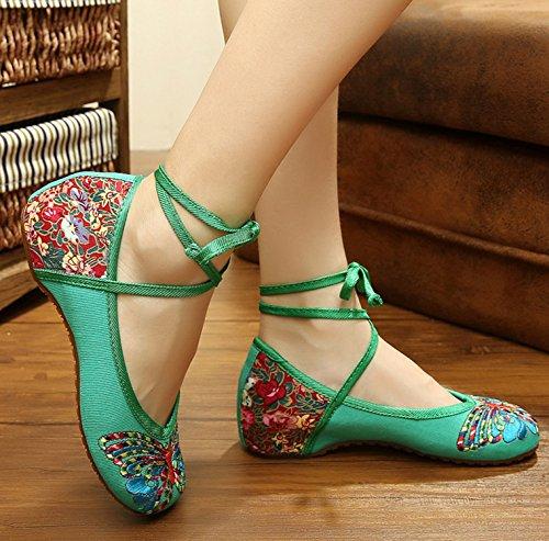 Donna Ricamato Mary Dell'involucro Scarpe Ballerine Stringate Icegrey Caviglia Jane Piani Mano Della A gOBqwnT