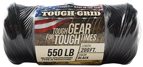 TOUGH-GRID 550lb Black Paracord/Parachute Cord - 100% Nylon Genuine Mil-Spec Type III Paracord Used by The US Military - Great for Bracelets and Lanyards - Made in The USA. 1000Ft. - Black by TOUGH-GRID (Image #7)
