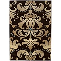 United Weavers of America Contours Collection Lotus Heavyweight Heat Set Olefin Rug, 2-Feet 7-Inch by 4-Feet 2-Inch, Smoke Blue