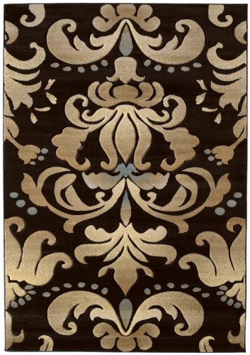 United Weavers Contours Collection Lotus 2-Feet 7-Inch by 7-Feet 4-Inch Heavyweight Heatset Olefin Rug, Smoke Blue