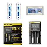 Bundle: Nitecore D2 Charger with 2PCs 3500mAh 18650 EASTSHINE E35 Protected Button Top Li-ion Batteries For Flashlight(Not for VAPE)