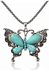 Less Like Genuine Turquoise Butterfly Oval Beads Bib Charm Statement Necklace Pendant