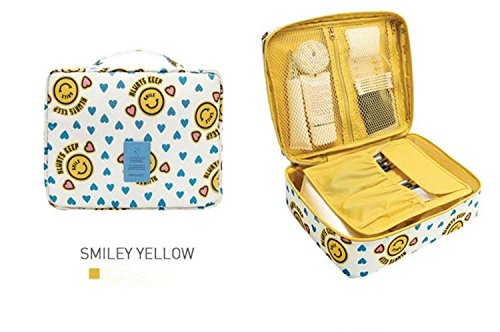 Makeup Bags Portable Kit Travel Handbag Waterproof Insert Storage Organizer Case Smiley Yellow (Cheapest Ticket)