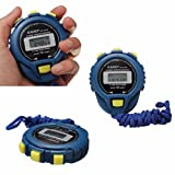 Kingfansion LCD Chronograph Digital Timer Stopwatch Sport Counter Odometer Watch Alarm