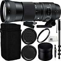 Sigma 150-600mm f/5-6.3 DG OS HSM Contemporary Lens for Nikon F Bundle Includes Manufacturer Accessories + 72 inch Monopod with Quick Release + UV Filter + Lens Pen + Microfiber Cleaning Cloth