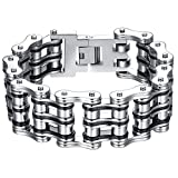 Men's Stainless Steel Extra Large Heavy Two Tone Bicycle Chain Biker Bracelet, 9.1', ccb025