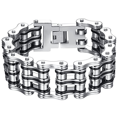 Men's Stainless Steel Extra Large Heavy Two Tone Bicycle Chain Biker Bracelet, 9.1