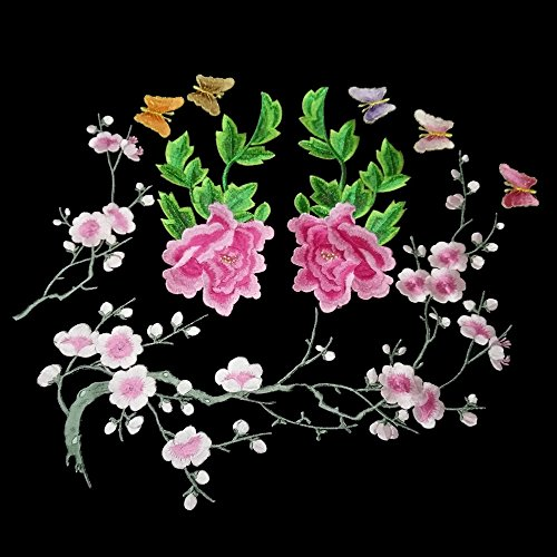 8 pcs gold thread, Quite a lot Butterfly Embroidery, Large Plum Embroidery, Peony Big Flower Applique Garment Accessories DIY Combination (pink series) ()