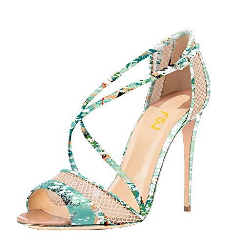 FSJ Women Graceful Open Toe Mesh Sandals High Heels Stilettos Strappy Shoes Size 4-15 US Turquoise 2Xi13HT0F0