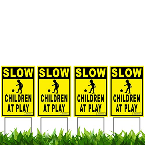 "Vibe Ink 12"" x 18"" Slow - Children at Play 4-Pack Caution Yard Signs - Lawn Sign w/Metal Stakes"