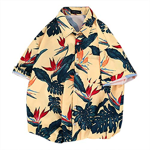 Kekebest 2019 Summer Trendy Popular Top for Men,Blouse T-Shirts Vest Men Lapel Print Short Sleeve Hawaiian Popover Boulder Creek Essentials Slim-Fit Sexy High Low Indigo Crew