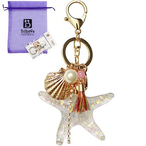 Bolbove Pearl Starfish Shell Tassel Keychain Keyring Crystal Rhinestones Purse Pendant Handbag Charm ()