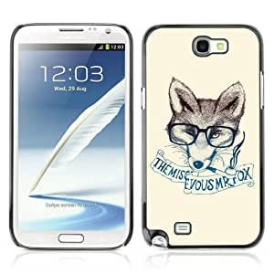Designer Depo Hard Protection Case for Samsung Galaxy Note 2 N7100 / Clever & Stylish Hipster Fox