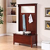 Entryway Hall Tree Storage Bench With Large Mirror, 5 Double Hanging Hooks, Flip Top Lid, Made Of Solid Wood, Practical, Extra Space, Home Furniture, Walnut Color + Expert Guide
