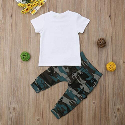 Xmiral Baby Jungen Brief Gedruckt Oansatz T-Shirt + Camouflage Hosen 2 stücke Outfits Set