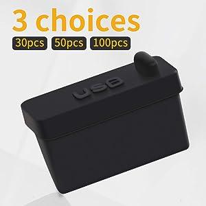 HFEIX Silicone Type-A USB Dust Plugs Desktop PC Laptops USB Port Anti Dust Covers (BLACK30)
