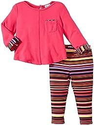 Splendid Littles Baby Girls\' Chalk Stripe Pant Set, Hot Pink, 12-18 Months