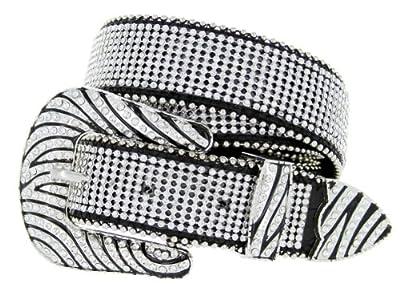 Womens Zebra Rhinestone Bling Bling Western Cowgirl Belt - Black