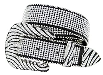 Womens Zebra Rhinestone Bling Bling Western Cowgirl Belt - Black (32)