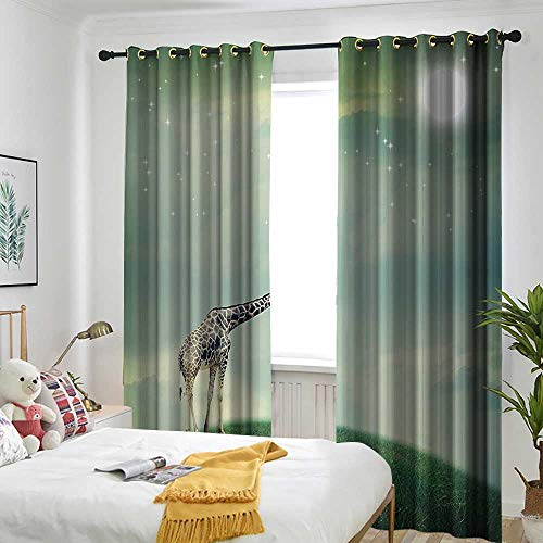 AndyTours Giraffe Sliding Door Curtain Mother Child Animal on Meadow Fairytale Atmosphere Shining Stars Romance Moon Image Grommet Curtains for Bedroom 84