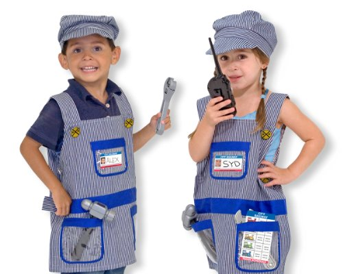 Seven Pc Train Engineer Role Play Costume Set with Cap & Tools