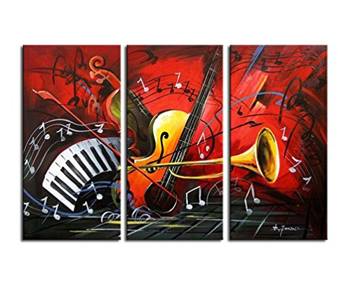 Noah Art-Modern Music Wall Art, 100% Hand Painted Musical Instruments Contemporary Abstract Oil Paintings On Canvas, 3 Panel Framed Inspirational Wall Art for Kids Room Wall Decor, 12x16inch x 3 Pcs]()