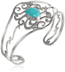 """Sterling Silver Oval Turquoise Center Swirl Cuff Bracelet, 6.25"""" from Athra NJ, Inc."""