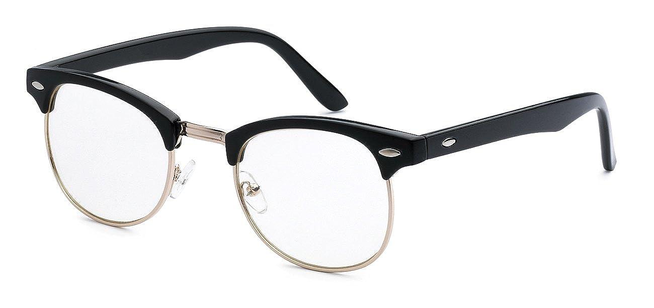 592aa8f4065 5zero1 Fake Glasses Half Frame Retro Fashion Men Women Nerd Classic Clear  Lens Eyeglasses.