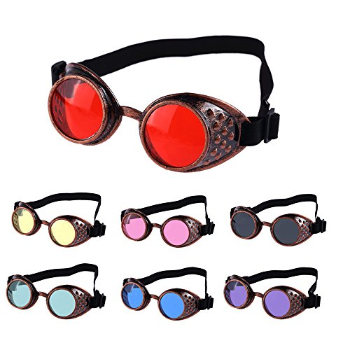YHNSHKHKU Sunglasses Men Women New Vintage Style Steampunk Goggles Welding Punk Glasses Cosplay Yellow]()