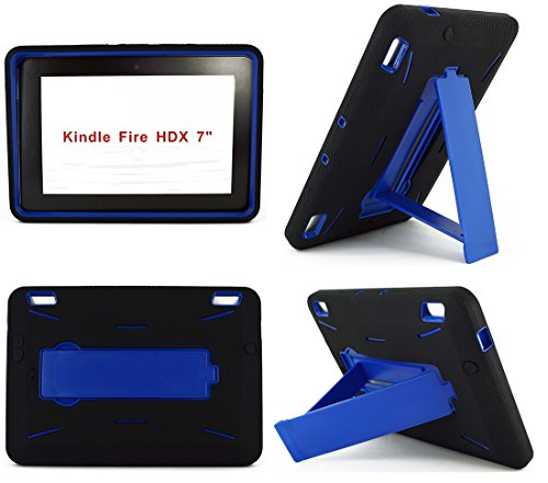 Amazon Kindle Fire HDX 7 inch Case (2013 Version) [NOT for Kindle Fire HD 7] Heavy Duty Hard Hybrid Protective Air Cushion Horizontal & Vertical View Kickstand Tablet Case Cover - Deerbrook Mobile T