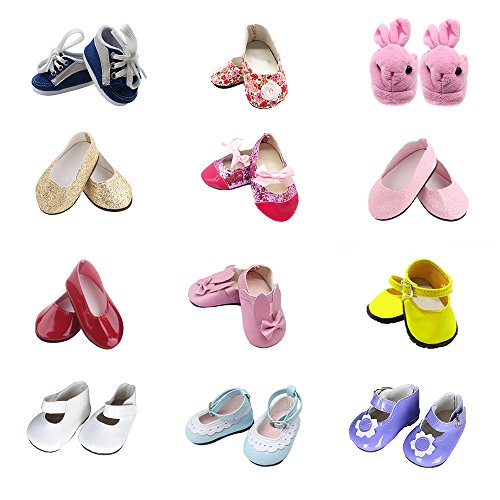 XADP 5 Pairs Doll Shoes Include Boots,Slippers,Leather Shoes,Dance Shoes Doll Accessory Fits 18 Inch American Girl Doll,Pack of 5