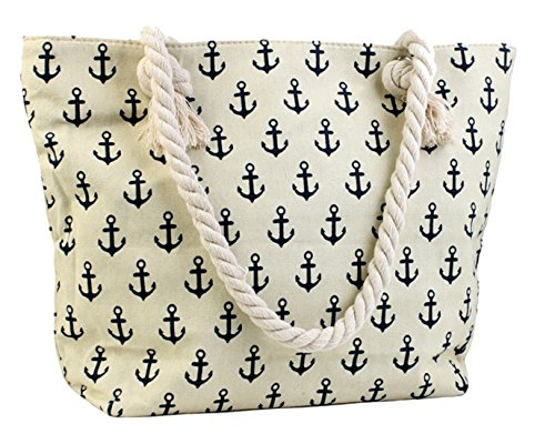 Canvas-Tote-Bag-Shoulder-Tote-Perfect-for-School-Work-or-the-Beach-Large-Compartment-Nautical-Anchors-Theme-17-x-12-Multiple-Colours