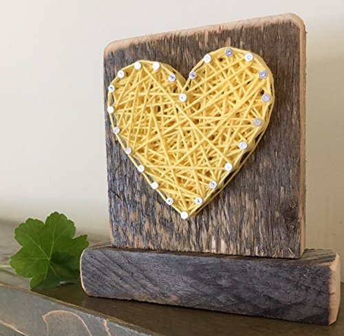 Sweet & small freestanding wooden yellow string art heart sign. Perfect for home accents, Wedding favors, Anniversary gifts, Valentine's Day, Christmas, nursery decoration and just because gifts.