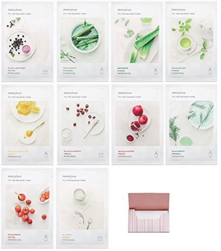 [Innisfree] It's Real Squeeze Mask Sheet x 10 Set Bundle with Oil Blotting Paper