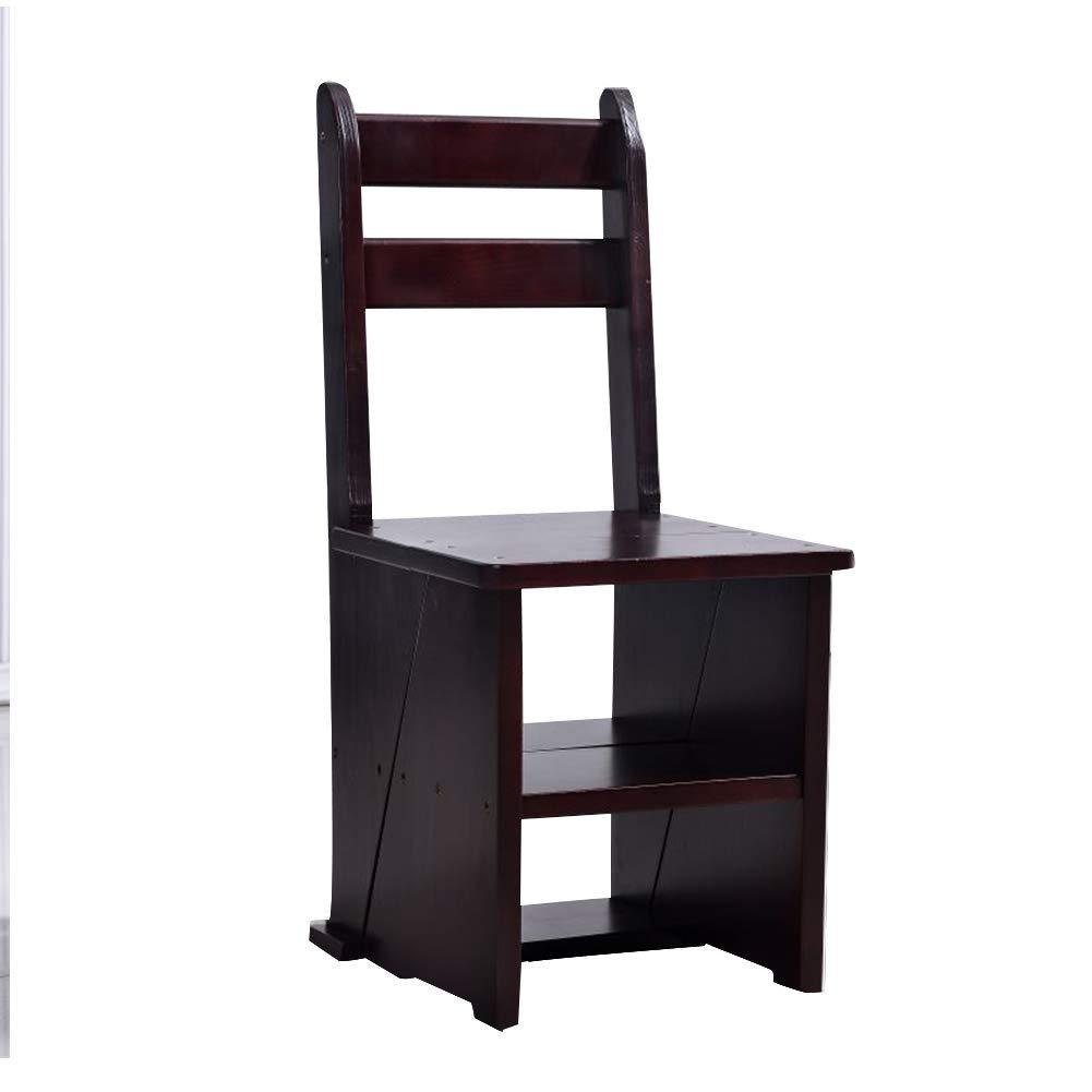 PENGFEI 折りたたみステップチェア 多機能 二重使用 背もたれ椅子 本棚 フラワースタンド 4色 脚立 踏み台ステップ チェア (色 : Brown) B07P57PZC2 Brown