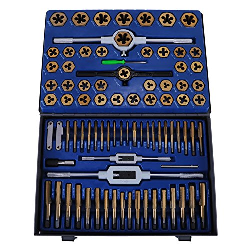 OrangeA 86PC Tap and Die Set Combination Metric Tap and Die Sae Tap and Die Set Tungsten Steel Titanium SAE and Metric Tool (86PC Tap and Die) (Thread Tap And Die Set)