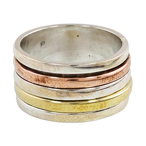 NOVICA .925 Sterling Silver Copper and Brass Tri Tone Metal Meditation Spinner Ring 'Sleek Simplicity' ()