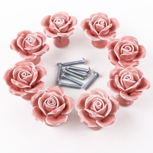 8PCS Pink Ceramic Vintage Floral Rose Door Knobs Handle Drawer