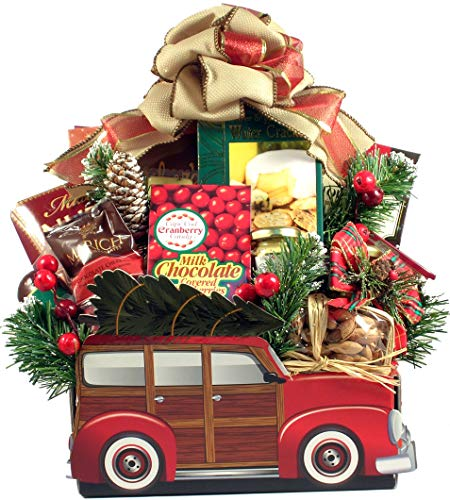 Memories of Christmas, Holiday Gift Basket In Classic Car Box with Loads of Christmas Time Snacks and Treats For the Family