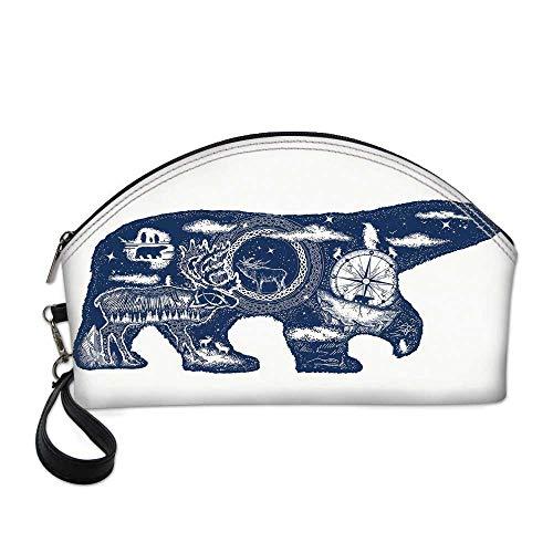 Cabin Decor Beautiful Women's semi circular cosmetic bag,Cosmic Fantasy Polar Bear Tattoo Art Magical Boho Northern Nature Compass Decorative For traveling,10.8