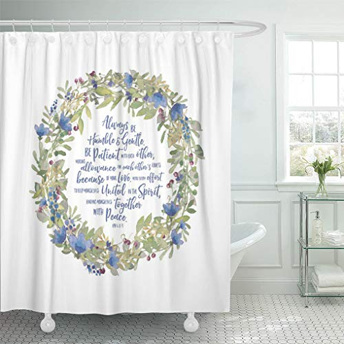 Semtomn Shower Curtain Inspirational Floral Scripture About Love 72