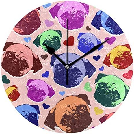 UKIO 掛け時計 置き時計 壁掛け時計 犬柄 心柄 カラフル 部屋装飾 壁時計 インテリア おしゃれ かわいい アート 部屋 ウォールクロック 円型