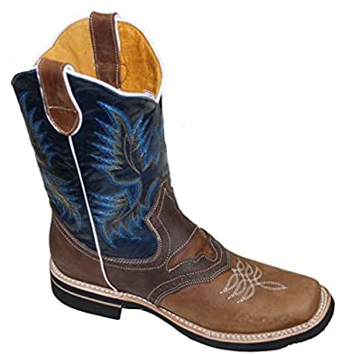 Men cowboy Genuine Cowhide Leather square toe rodeo western BOOTS_Tan_Black_6