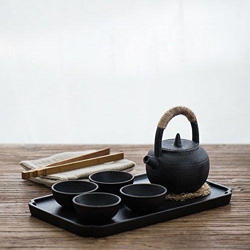 THJ Set de Tetera de Mango de Arcilla Blanca Japonesa Set de Té de Kungfu de Hogar Creativa Simple de Gres,Segundo